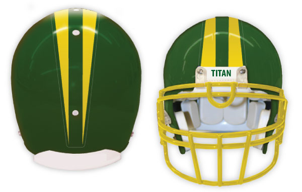 Green helmet with stripes