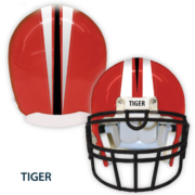 Red Helmet with stripe and tiger label