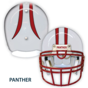White Helmet with Stripe and Panther label
